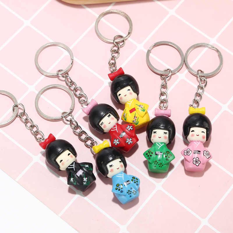 1pcs 혼합 색상 일본 기모노 소녀 키 체인 만화 인형 키 체인 인형 키 체인 소녀 키 링