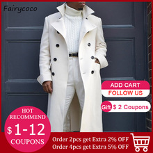 Men straight jacket long sleeve lapel button white casual fashion gentleman coat 2020 autumn and winter