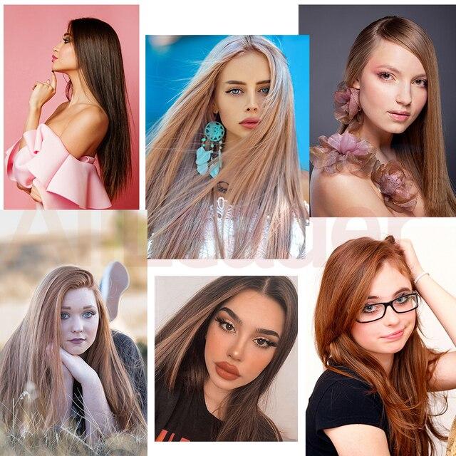 Leeons-extensiones de cabello con Clip para mujer, falso peluquín Natural sintético, largo, 60Cm, 5 pinzas, color negro y marrón puro