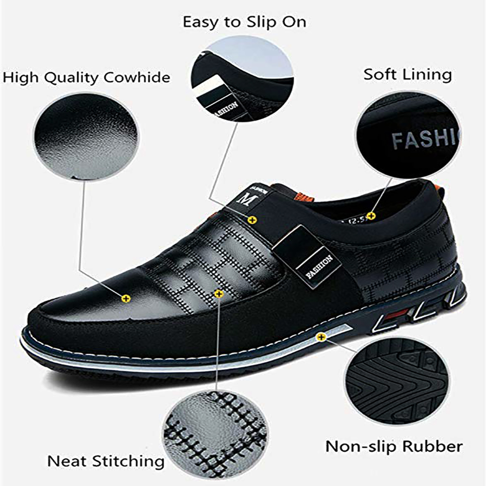 Image 2 - Oxfords Leather Men Shoes Fashion Casual Slip on Formal Business Shoes Casual Leather Shoes for Man Drop ShippingOxfords   -