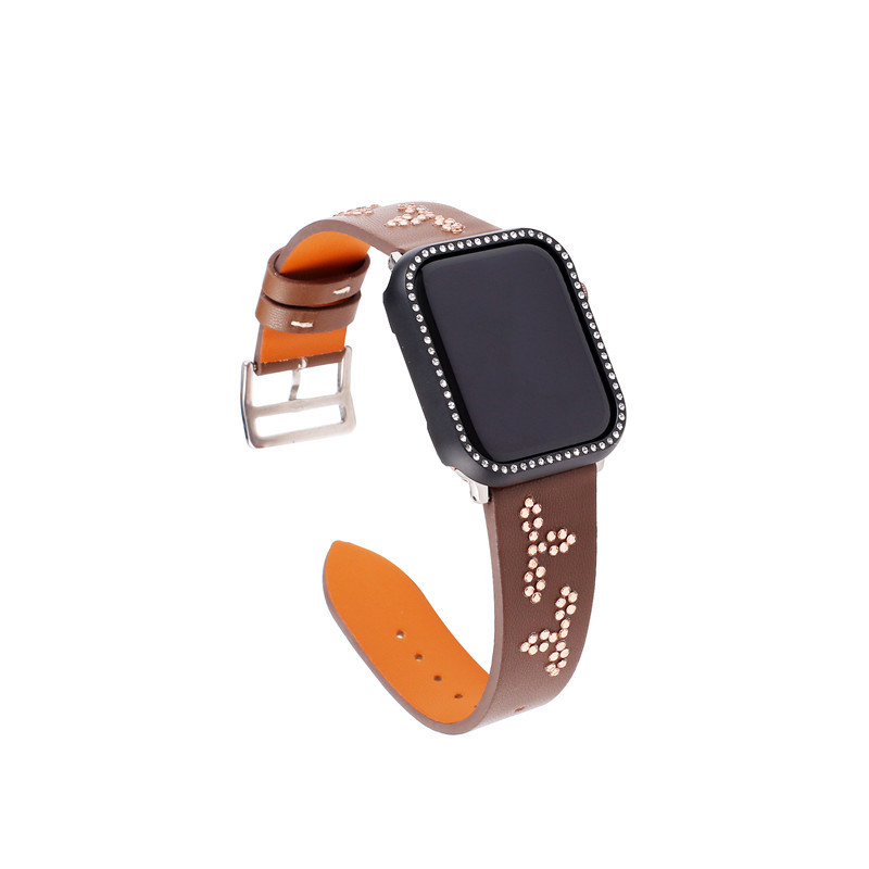 For Apple Watch Leather Watch Strap Classic Buckle IWatch Apple Watch Strap Diamond Set With Table Frame Genuine Leather Wrist S