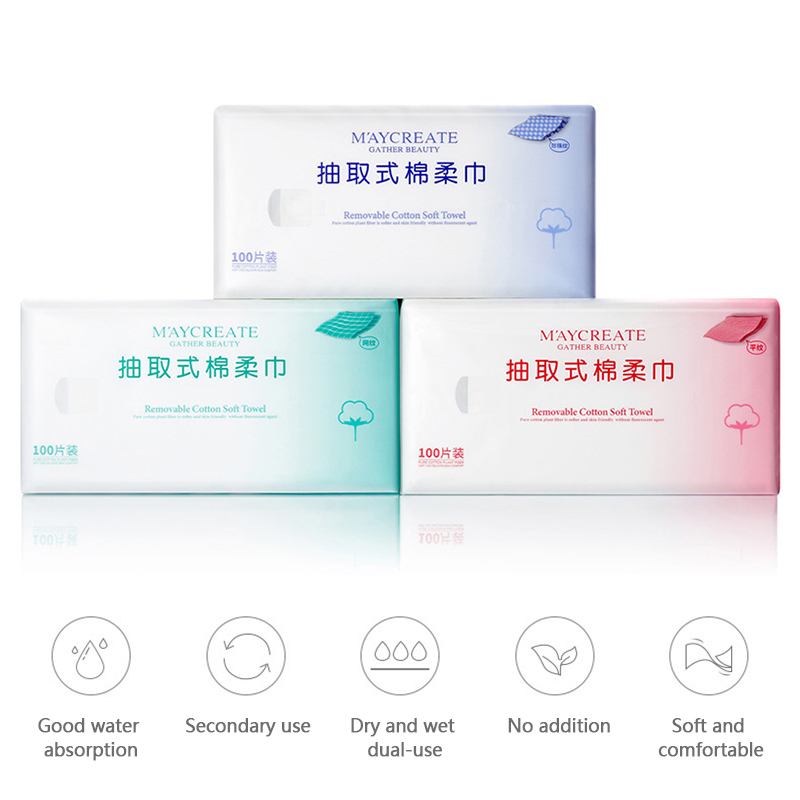 Pro 100Pcs Travel Cleansing Cotton Disposable Soft Skin-friendly Portable Outdoor Wet Wipes Washcloths Paper Beauty Face Towel