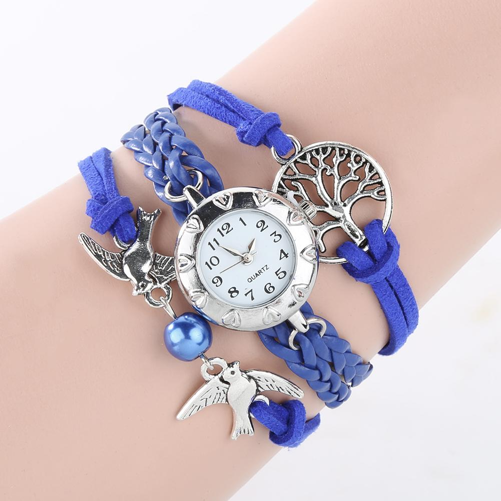 New Fashion Watch Women Quartz Watch Hollow Life Tree Birds Beads Charm Multilayer Retro Braided Bracelet Wrist Clock For Gifts
