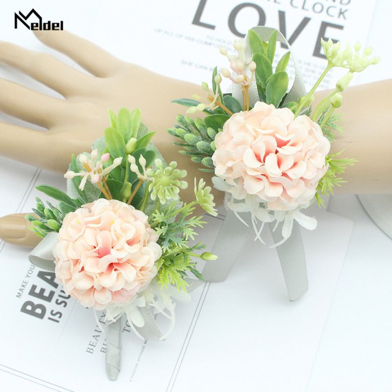 Meldel Pink Roses Flowers Wedding Groom Boutonniere Wrist Corsage Bracelet Bridesmaid Boutonniere Corsage Pin Party Prom Corsage
