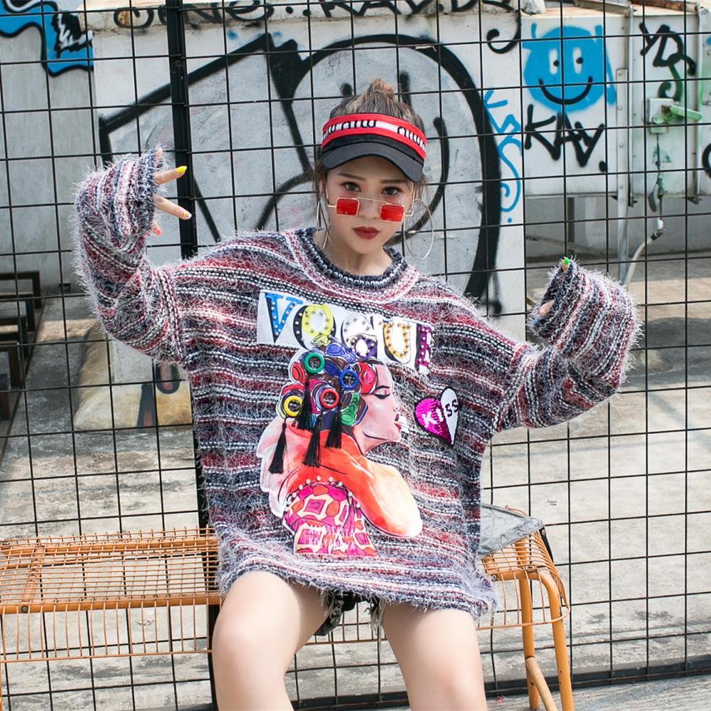 2019 automne et hiver nouveau lourd travail perlé hauts pullover lâche mode marque grand pull rayé femmes tricots
