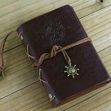 Retro Helm Faux Leather Journal Travel Blank Diary A5 Loose-leaf