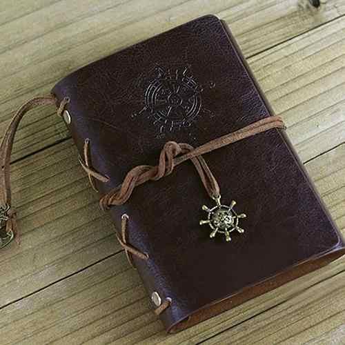 Retro Timone Del Cuoio Del Faux Ufficiale di Viaggio Diario in Bianco A5 Loose-Leaf Notebook