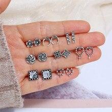 цена на 5 pairs of  earrings for women charm crystal silver earrings Simple rhinestone flower heart-shaped Vintage earrings