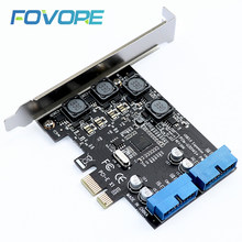 Usb3.0 pci-e pci express x1 placa de expansão frente 5 gb/s usb 3.0 hub 19pin interface controlador adaptador 120x69x90mm para desktop de computador