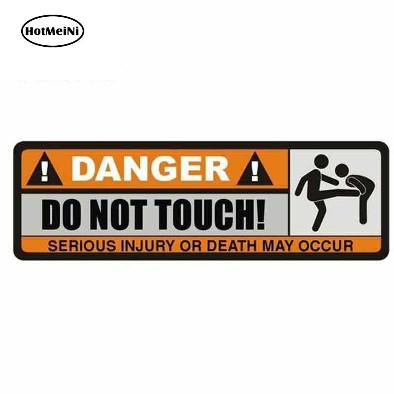 HotMeiNi 13cm x 4.3cm śmieszne plakietki naklejki z literami i cyframi niebezpieczeństwo nie dotykaj znak zabawne ostrzeżenie naklejki samochodowe grafika