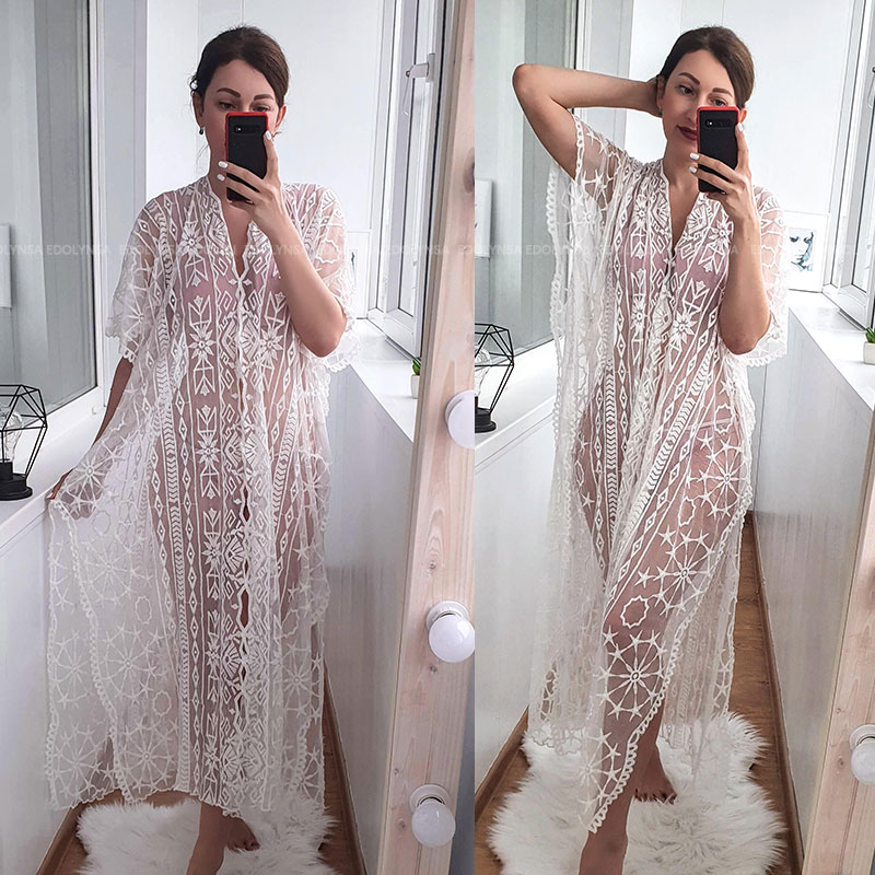 Image 5 - 2020 Sexy See Through Deep V Neck Loose Summer Beach Dress Chiffon Tunic Women Plus Size Beachwear Sarongs Plage Long Dress N880Dresses   -