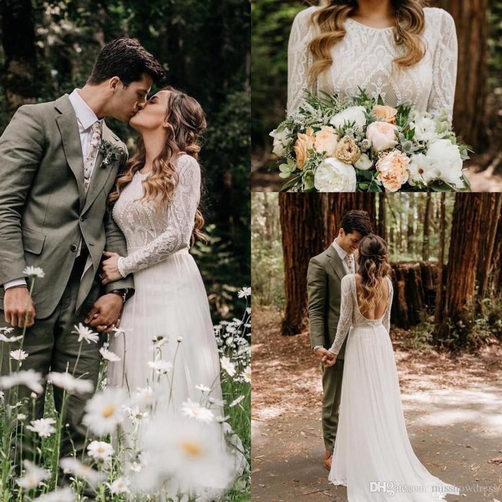 Lace Beach Wedding Dresses Boho 2020 Long Sleeves Backless Sweep Train Chiffon Bohemian Bridal Gowns Vestidos De Noiva Cheap