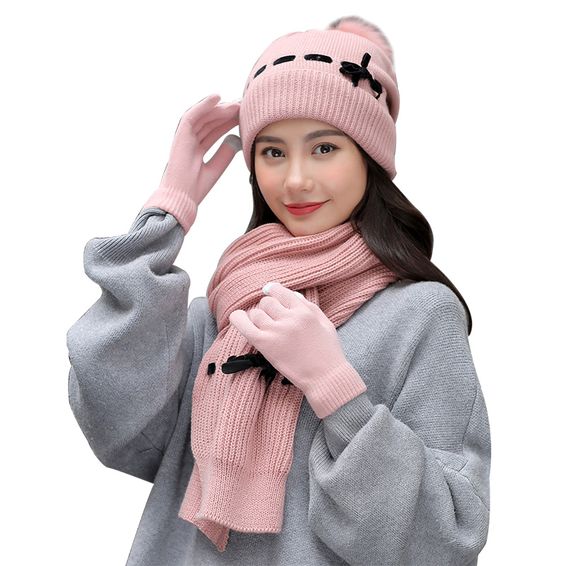 New 3 / Set Outdoor Winter Gloves Scarf And Hats Ladies Warm Knit Shawl Plus Velvet Beanie Cotton Soft Skullies Gifts For Family