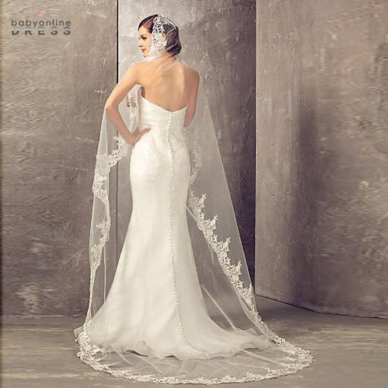 Voile Mariage3.7M One Layer Lace Edge White Ivory Cathedral Wedding Veil Long Face Covered Bridal Veil With Comb Veu De Noiva