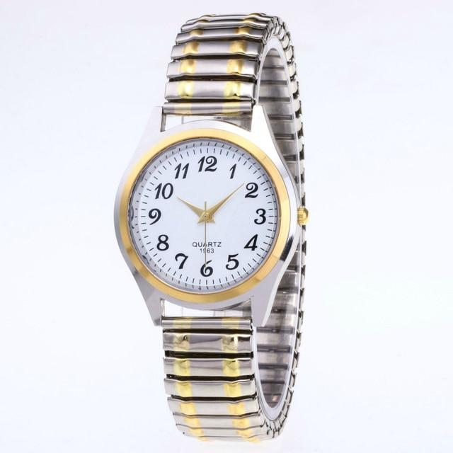 1PCs Fashion Vintage Business Women Men Elastic Gold Sliver Quartz Watch Tide Lovers Couple Party Office Gifts Bracelet Watches 3