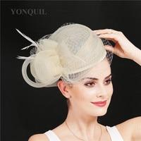 High quality sinamay nice net fasinator hat gorgeous ladies formal dress party church fedora hats hair pin mesh bride headpiece