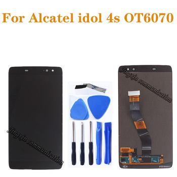 original Amoled display For ALCATEL IDOL 4S LCD + touch screen digitizer for alcatel OT6070 6070Y 6070K 6070 oled repair parts dabuwawa elegant white v neck solid lace cutout blouse women tops short sleeve button front blouses shirts female dt1bla004