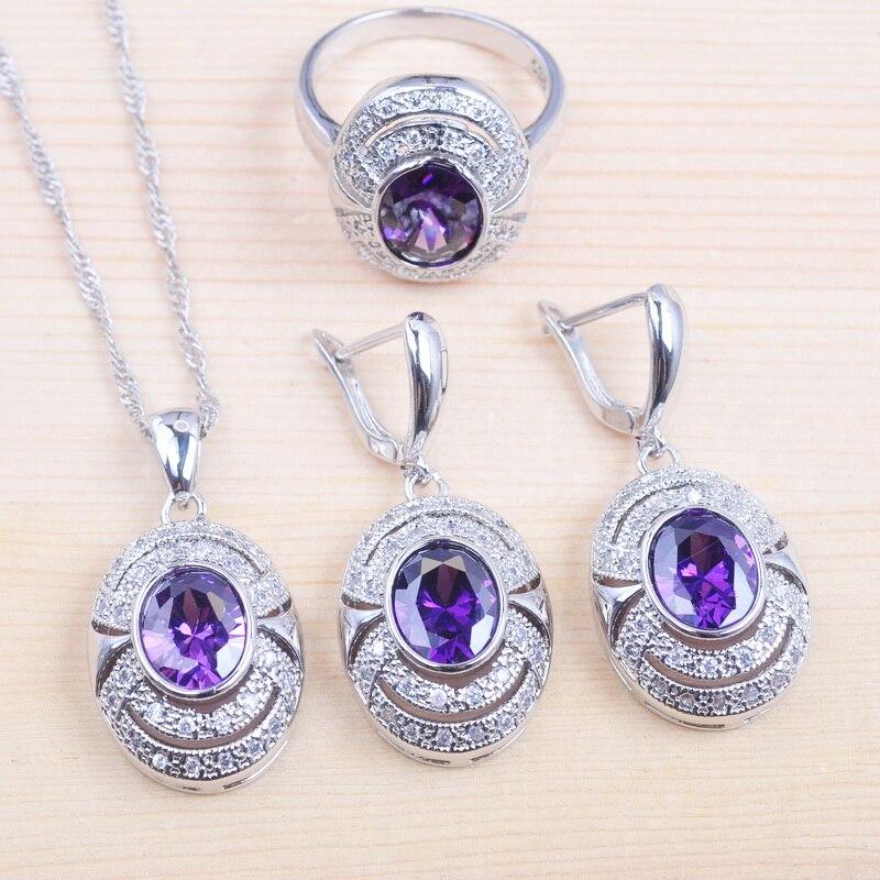 רוסית סגנון Zirconia חתונת תכשיטי סט סגול קריסטל תליוני שרשרת עגיל טבעת עבור נשים יוקרה מסיבת תכשיטי QZ099