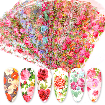 10 Pcs Rose Flowers Nail Foils Tropical Leaves Colorful Nail Decals Transfer Decorations Sets for Manicuring DIY Sticker Slide 1
