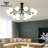 Modern Glass Ball LED Chandelier Lighting Nordic Ceiling Chandelier Home Decor Crystal Luxury Bedroom Living Room Hanging Lamp