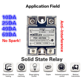цена на SSR-10A 25A 40A 60A Single Phase DC Control AC HeatSink 220V Relay To 3-32VDC PDH-10DA 25DA 40DA Plastic Cover Solid State Relay