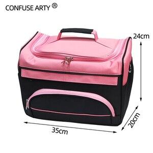 Image 4 - Hair Scissor Bag Salon Barber Handbag Hairdressing Comb Tools Bag Makeup Storage Bag Travel Hairstyling Carry Case