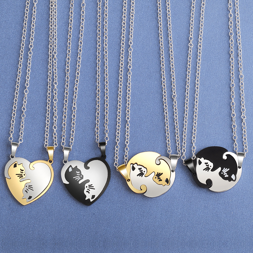 Couple heart necklace Cute Cartoon cat Pendant Necklace Gold Silver black animal Necklace Jewelry Gift for girl boys