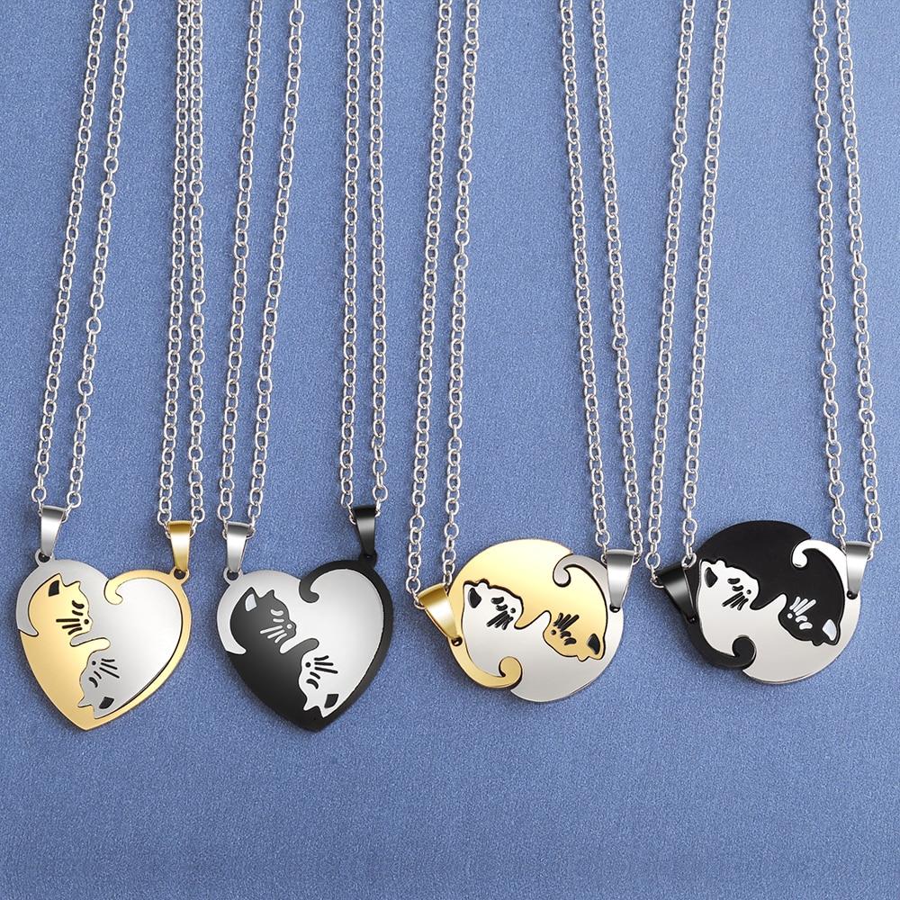 Colar de coração para casal, colar com pingente de gato de desenho animado colorido de personalidade, colar de animais pretos, presente de joia para meninas e meninos