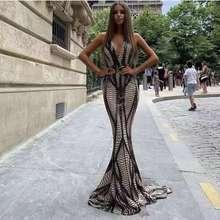 Sleeveless V Neck Sequined Maxi Dress Open Back Cross Straps Stretchy Floor Length Mermaid