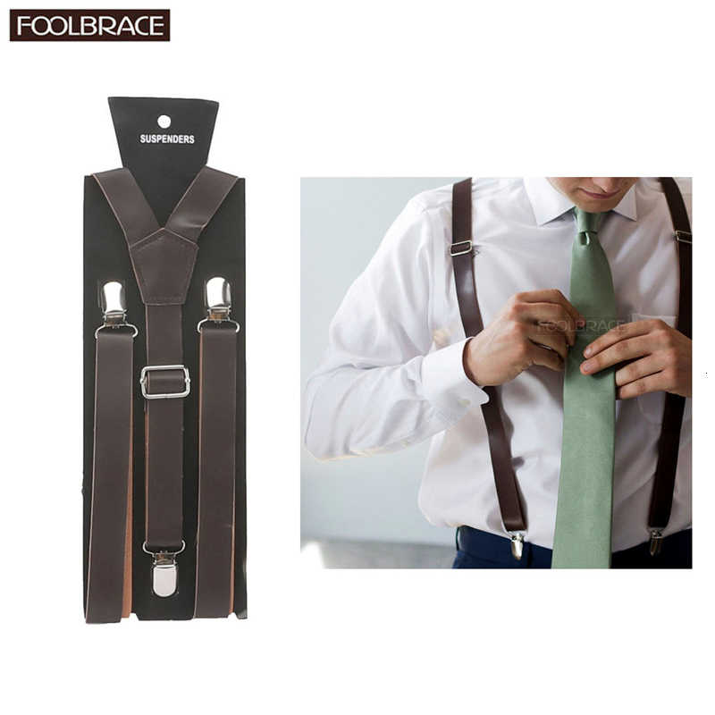 MenS Suspenders Leather Thin And Narrow Suspenders Belt Pu Leather Clip-On Braces 1.3Cm Width