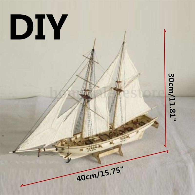 HobbyLane 1:100 Scale Wooden Wood Sailboat <font><b>Ship</b></font> Kits Home DIY Model Home Decoration Boat Gift Toy for Kids image