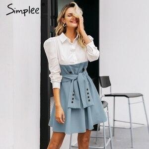 Image 1 - Simplee Patchwork puff sleeve shirt dress women Elegant button sash belt office ladies dresses Autumn ladies khaki work dress