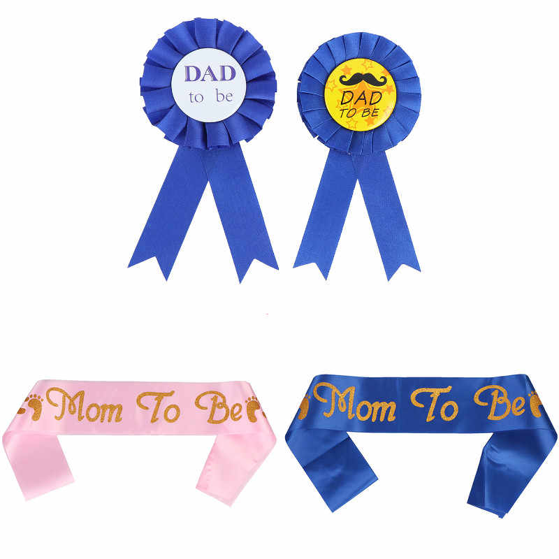 1pc Baby Shower Party Piggyback Medal Satin Ribbon Pink Mom To Be/Blue DAD To Be Newborn Party Gift Decoratives