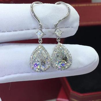 Gota de agua 3ct diamante cz Earrring Plata de Ley 925 auténtica de compromiso pendientes colgantes para boda para las mujeres encanto de la joyería del partido