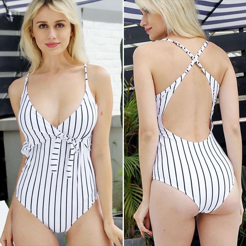2020 Sexy Stripes Swimwear Women Backless One piece Swimsuit Badpak Monokini  Maillot femme  Bikini Maio Biquini Mujer Trikini 3