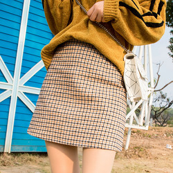 2020 Autumn Winter Plaid Skirt Mini Skirts Black Tweed Skirt Women Korean Elegant Plaid Jupe Femme Cute Bottoms for Ladies