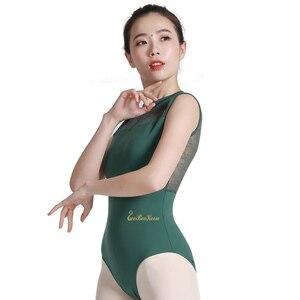 Image 5 - バレリーナ体操レオタード大人のためのバレエのレオタード女性スタンド襟セクシーなレースのボディスーツ Bailarina ダンスヨガレオタード