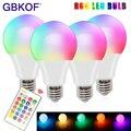 Светодиодная лампа меняющая цвет с пультом дистанционного управления E27 RGBW 5 Вт 10 Вт 15 Вт RGB + дневной белый светодиодный светильник с регулир...