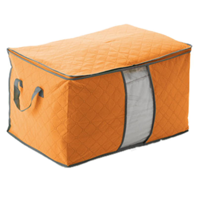 Non Woven Fabric Folding Storage Box Dirty Clothes Collecting Case With Zipper For Toys Quilt Storage Box Clear Window Organizer - Цвет: 60x42x36cm Orange