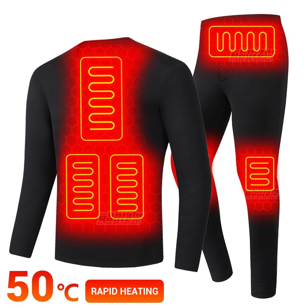 Winter Thermal Underwear Men Electric Heated Underwear Men Men's Ski Suit USB Battery Powered Heating Fleece Thermal Long Johns