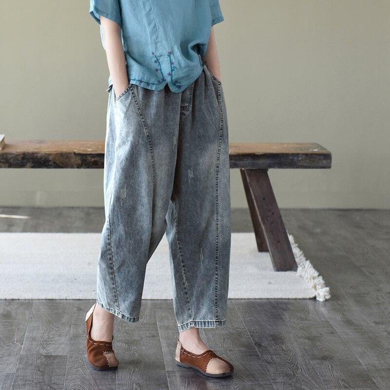 2020 Summer Jeans Women Retro Elastic Waist Loose All-match Denim Pants New Spliced Pocket Vintage Female Casual Denim Trousers