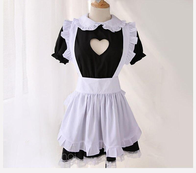 Image 2 - バストオープンメイド衣装セクシーなコスプレキティ衣装綿エプロンレース誘惑ミニドレス女性のためのアニメ黒、白ロリータ    グループ上の ノベルティ