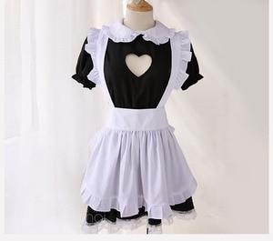 Image 2 - バストオープンメイド衣装セクシーなコスプレキティ衣装綿エプロンレース誘惑ミニドレス女性のためのアニメ黒、白ロリータ