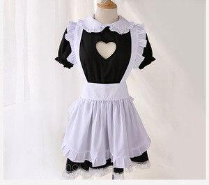 Image 2 - Fantasia de dama aberta sexy, cosplay kitty, roupa de algodão, avental de renda, mini vestido feminino anime branco e preto