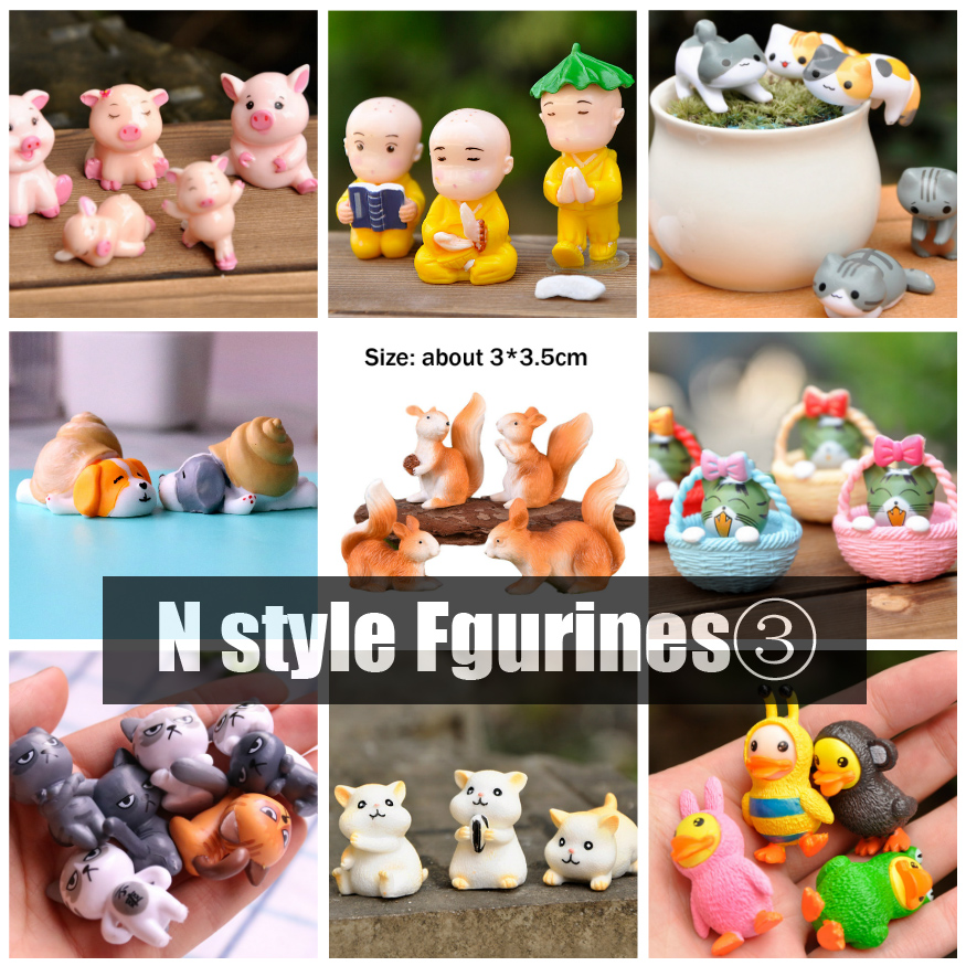 BAIUFOR Miniatures Cartoon Animals Set 3, Puppet Mini Desktop Doll Fairy Garden Decor Terrarium Figurines Anime Monk Cat Pig Dog