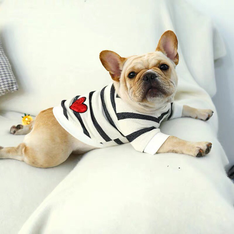 Pet Dog Autumn And Winter Black And White Striped Love Round Neck Sweater Sweater French Bulldog Bully Pet Costume