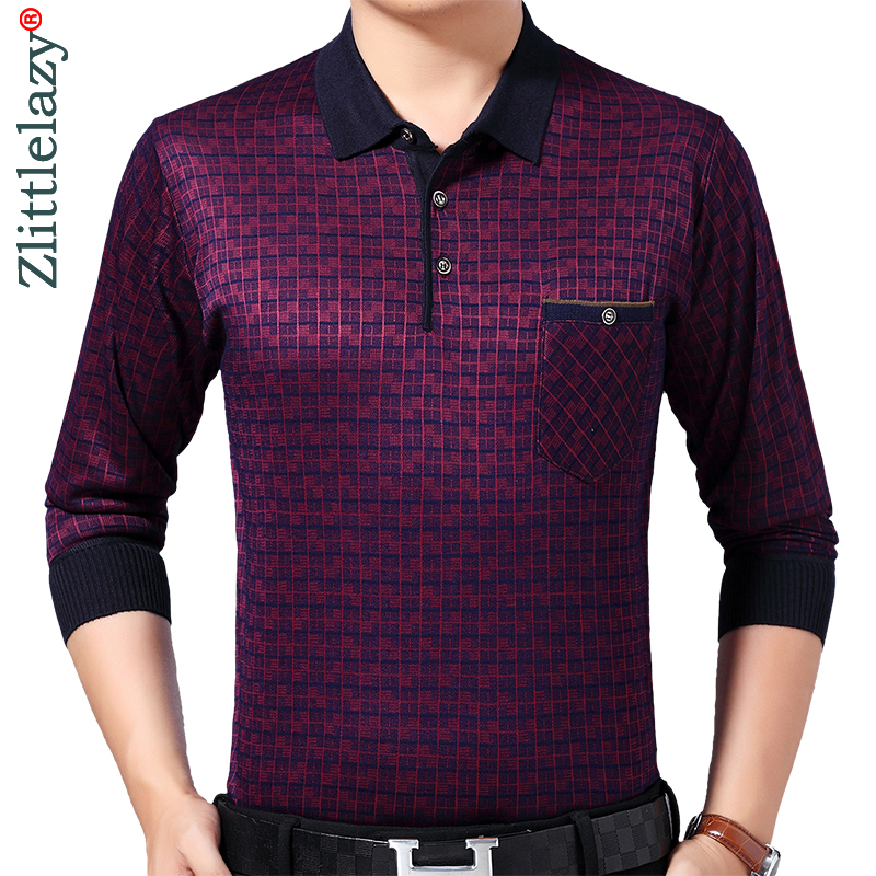 2019 Brand Casual Pocket Fitness Long Sleeve Polo Shirt Men Poloshirt Jersey Plaid Mens Polos Tee Shirts Dress Fashions 93004