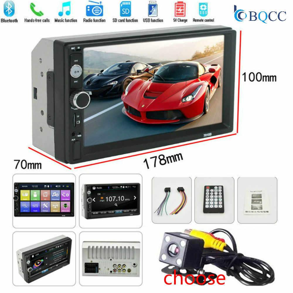 """2 カーラジオ Din 7 """"HD Autoradio マルチメディアプレーヤー MP5Auto 画面タッチオーディオ Bluetooth カメラ USB TF FM"""