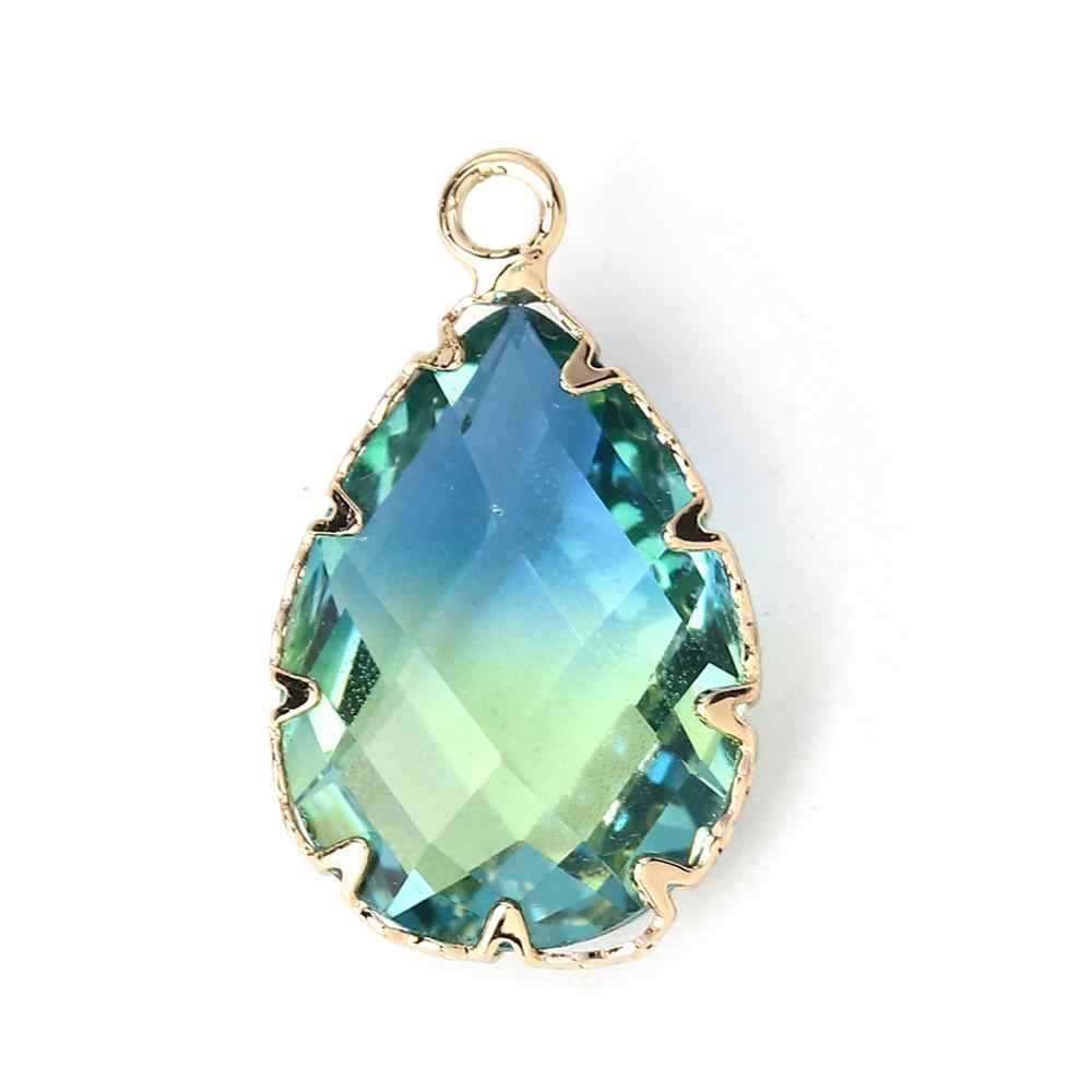 DoreenBeads New Fashion Glass Charms Water Drop-Shaped Blue & Green Faceted Pendant DIY Gifts Jewelry 23mm x 14mm, 1 Piece