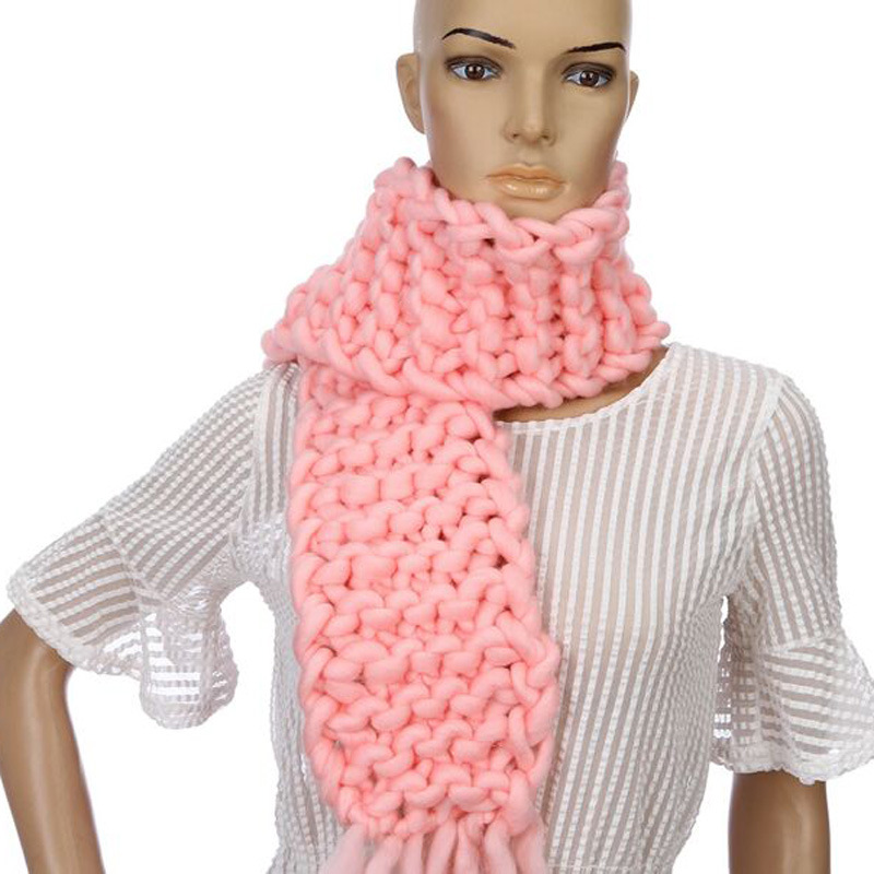 Foreign Trade Hot Sales Hand-woven Ultra-Coarse Yarn Long Scarf Iceland Wool Winter Warm Adult Scarf 8594